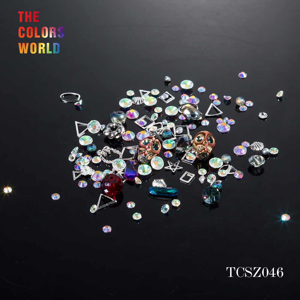 Halloween Mix Crystal Shinny Crystal  Skull Head for Nail Art Rhinestones Decorations DIY and nail art decoration TCSZ046 plastic standing human skeleton life size for horror hunted house halloween decoration