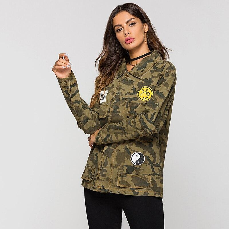 Printemps Armée Parkas Vert Vestes Escalier Femmes Vogue Camouflage SwXpPnq5v