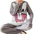Coelho bonito Dos Desenhos Animados Impressão Sleepwear Pijama Casuais Definir Soltas Em Torno Do Pescoço Tops de Manga Longa + Calças Compridas Cozy Outono Loungewear