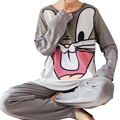 Cute Cartoon Rabbit Printing Sleepwear Casual Pyjamas Set Loose Round Neck Long Sleeve Tops + Long Pants Cozy Autumn Loungewear