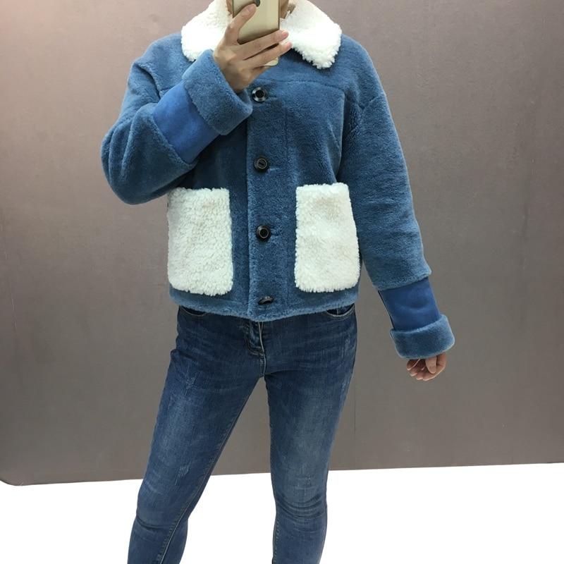 Kadın Giyim'ten Gerçek Kürk'de Kadın doğal koyun kürk kısa ceket kış moda yeni stil sıcak kalın turn down yaka kadın sonbahar dış giyim gerçek furcoat'da  Grup 1