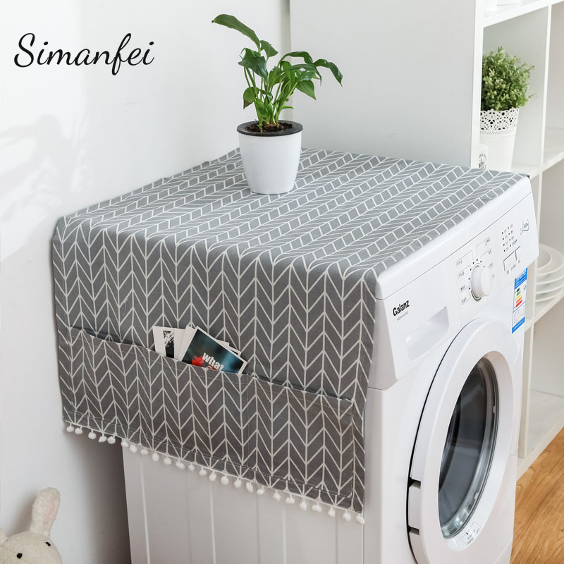 Simanfei Roller Washing machine Cover 2018 New Rural style Dust proof Covers Multi-function Refrigerator Dust Cover Storage Bags
