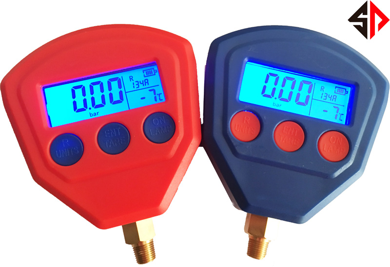 A pair Ceramic Silicon Diaphragm Automotive Air Conditioning Refrigerant Digital LCD Display Pressure Gauge