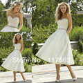 Free shipping! Summer style sweetheart rhinestone belt tea length wedding dress with pocket HS163