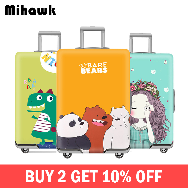 Mihawk Cute Elastic Luggage Cover Cartoon Trolley Suitcase Student Kid Protect Dust Bag For 18-32 Inch Case Travel Accessories