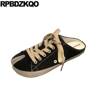 Sandals Black Retro Canvas Shoes Large Size Denim Cloth Women Slippers Jeans Slip On Lace Up Sneakers Leopard Print Brand Mules