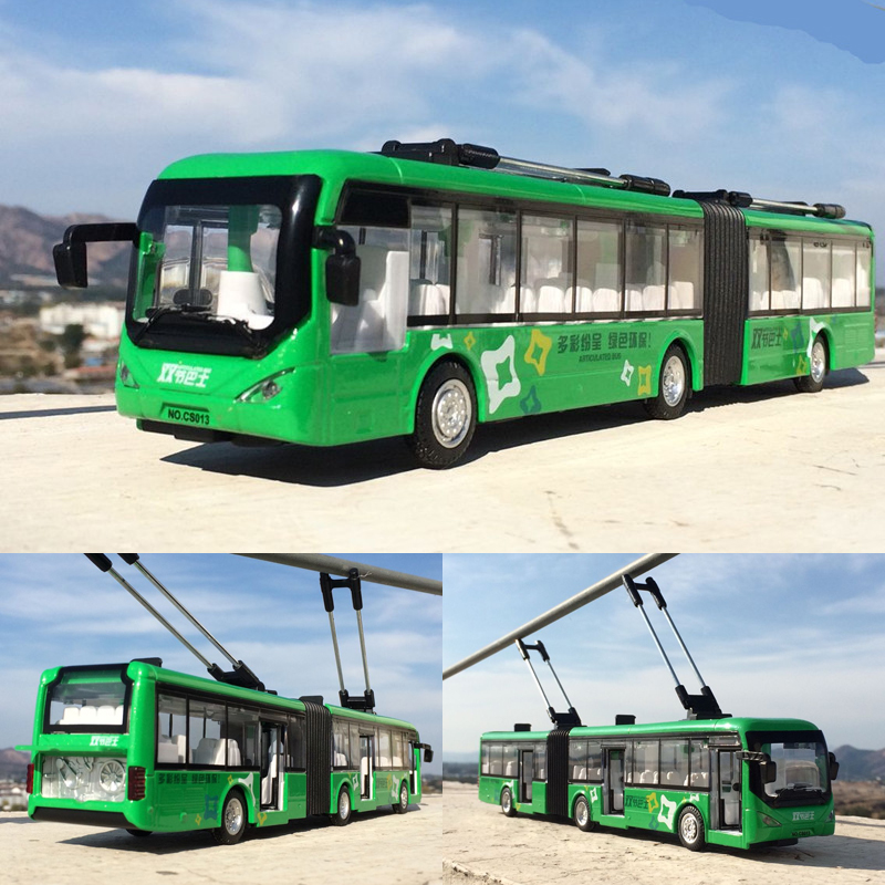 1:32 Alloy Pull Back Double Bus,high Simulation City Bus Model,toy Vehicles,metal Diecasts,flashing & Musical,free Shipping