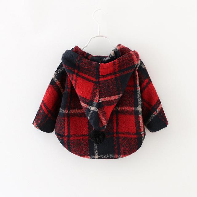 2016 nueva primavera y el otoño de días bebé muchacha de la chaqueta 100% chaqueta de cachemira de algodón a cuadros de los niños 1-3 años envío gratis