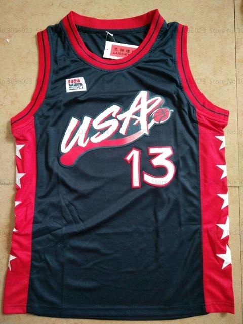 LANSHITINA Shaquille O'Neal #13 Shaq Oneal Dark Blue/White USA Retro Throwback Stitched Basketball Jersey