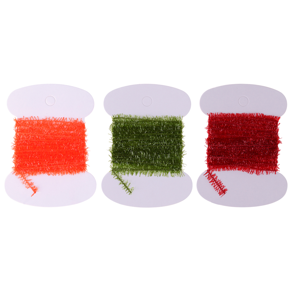 3m/card Tinsel Chenille Flash Line Rig Bait Fly Tying Material Fur Strip For Streamer And Nymph Flies Lures Crystal Line 2017New