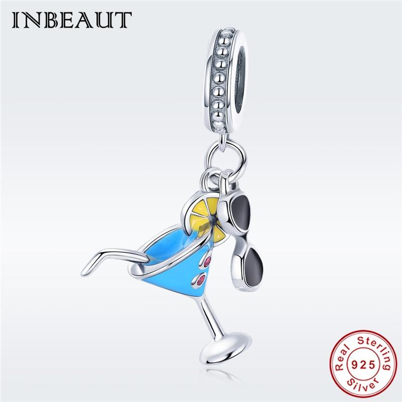 Summer Black Glasses Charm Beads fit Pandora Bracelet Hot Sale 925 Sterling Silver Blue Cup Lemon Pendant for Women Necklace