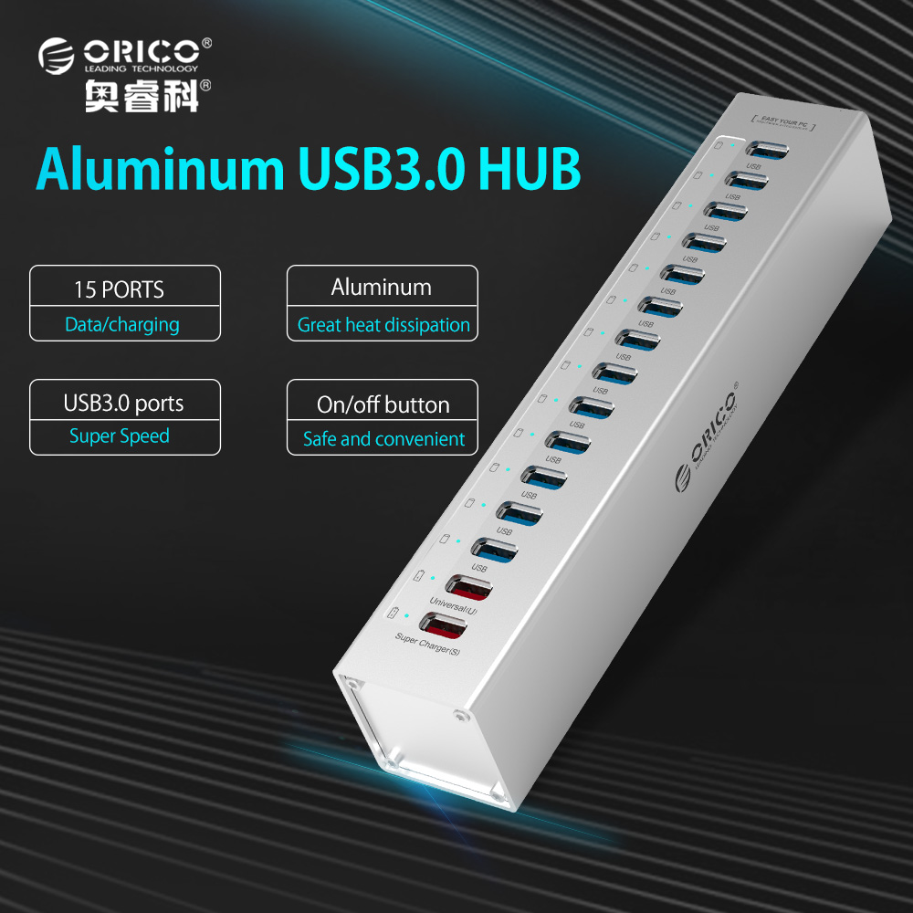 ORICO External USB HUB Aluminum 13-port 5Gbps USB3.0 Hubs Splitter for Macbook Laptop PC with 2 Charging Ports for PC Laptop
