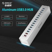 ORICO HUB USB Externe En Aluminium 13-port 5 Gbps USB3.0 Moyeux Splitter pour Macbook PC Portable avec 2 Ports De Charge pour PC ordinateur portable