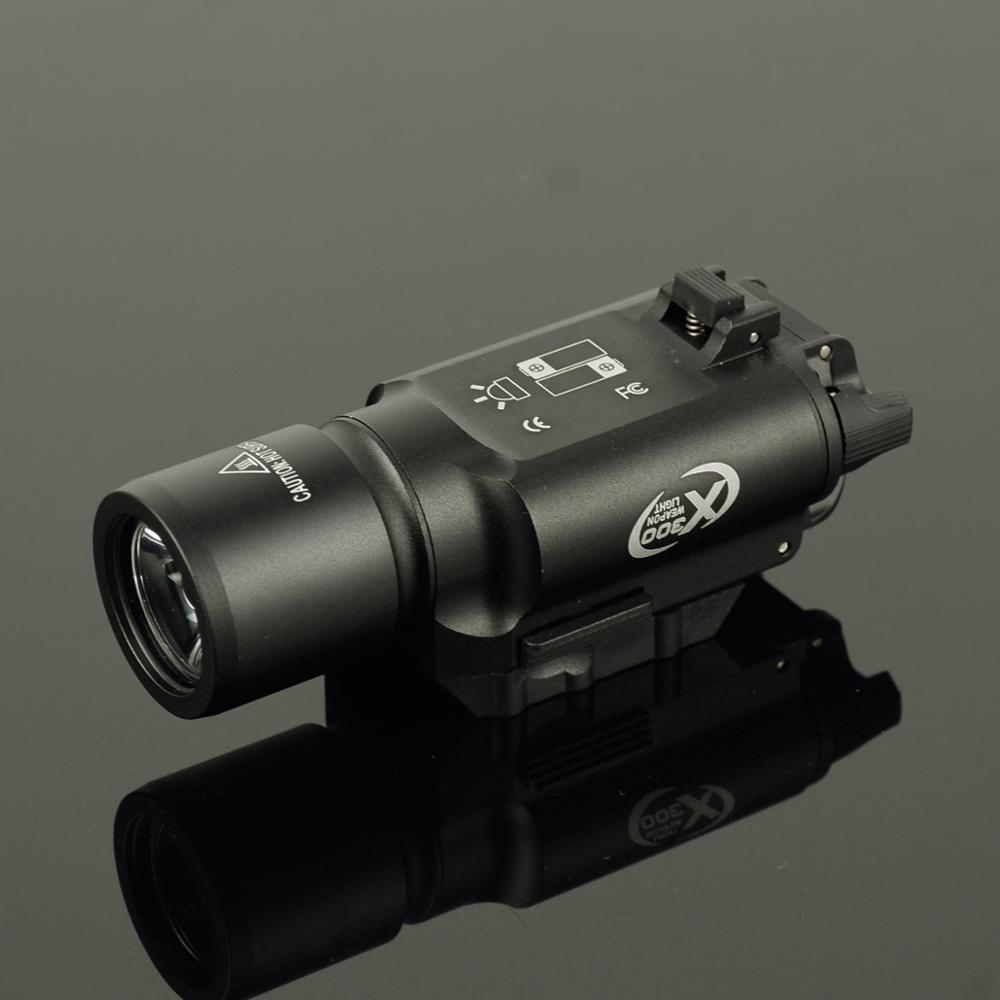 Spor ve Eğlence'ten Silah Işıkları'de Taktik X300 silah ışığı Lanterna Airsoft el feneri Picatinny askeri meşale ray avcılık tüfek tabanca tabanca İzci hafif