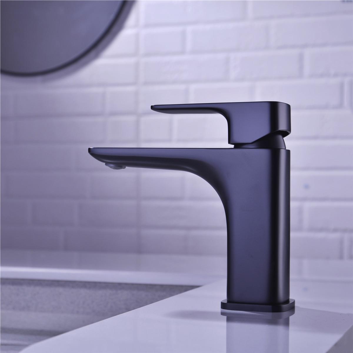 Grifo mezclador de lavabo de baño, AODEYI, grifo mezclador de lavabo de latón de un solo orificio con agua fría o caliente, línea de suministro, negro mate