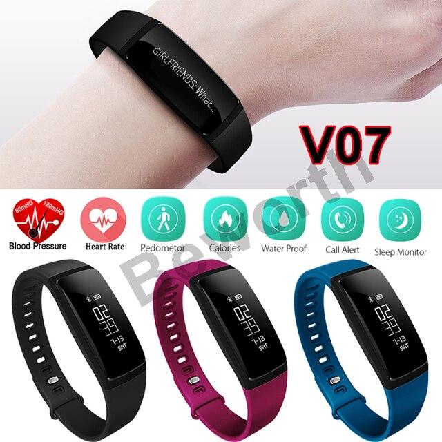 Smart Band Blood Pressure Heart Rate Monitor Bracelet V07 Sports Smart Watch Bluetooth Waterproof Wristband Fitness Tracker 2017
