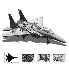 270 pcs 군사 시리즈 F 15 독수리 전투기 빌딩 블록 모델 맞는 레고 육군 기술 비행기 세트 아이들을위한 벽돌 장난감 선물