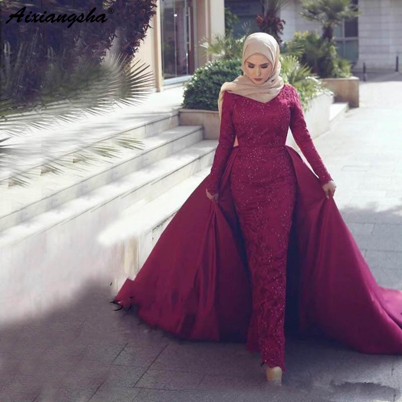 Long Sleeves Lace Beaded Formal Prom   Dress   Women Detachable Train Islamic Dubai Saudi Arabic Muslim Mermaid Hijab   Evening     Dress