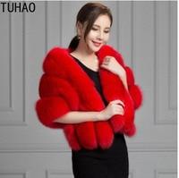 TUHAO 2018 autumn winter fur shawl cloak fox fur wedding evening coat faux fur coats jacket for women vintage fur coats black
