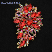Vintage Style Accessories Rhinestone Brooch Red Flower Brooch Broach Pin 3 3 for Women Rhinestone Crystals