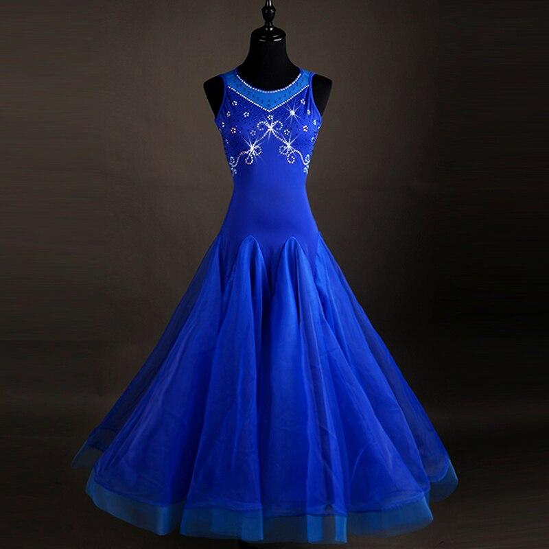 blue Ballroom dance costumes sexy spandex sleeveless standard ballroom dress ballroom dance competition dresses for girls