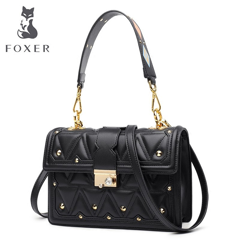 Foxer Brand Women Shoulder Bag Cow Leather Rivet Bags Female Tote Handbags Lady High Quality Crossbody Bags for Female foxer brand women s cow leather handbags female shoulder bag designer luxury lady tote large capacity zipper handbag for women page 5