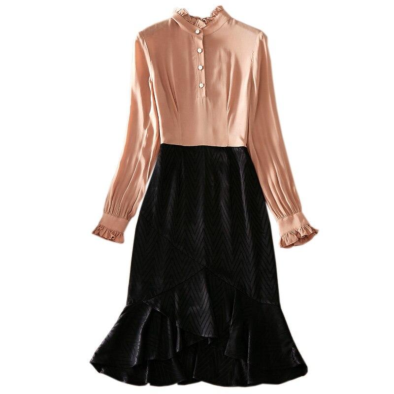 Montant Nouveau Décoration De Longues Couleur Printemps Contraste À Ourlet Robe Q425 Bouton Col Femme Manches 2019 Couture Volants zHd4qx4