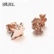 SMJEL Mini Love Cat Rabbit Stud Earrings For Women Cute Stainless Steel Earring Minimalist Jewelry Easter Festival GiFT