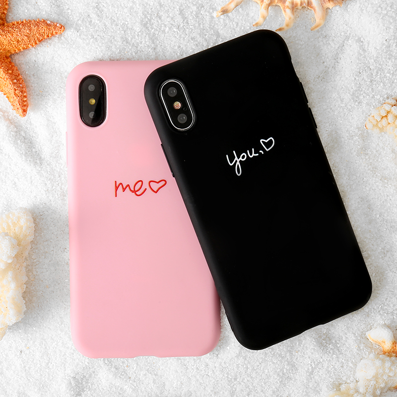 Pink U Love Heart Phone Case For iphone 11 Pro Max XS MAX XR X 6 S 6S 7 8 Plus 5 5s Se Silicon Couple Full Cover For Iphone 11Pro Max 7 8 Plus Cases