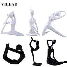 VILEAD 11 Style Resin Girl Yoga Figurines Abstract Black White Woman Model Modern Miniatures for Office Vintage Home Decor