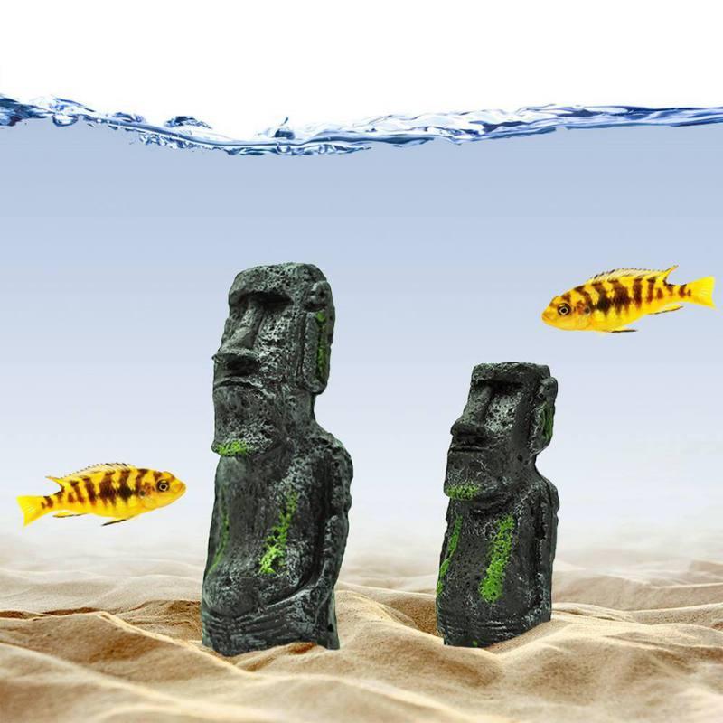 Resin Moai Monolith Statue Ancient Easter Island Face Statue Decoration Fish Tank Aquarium Decorations Desktop Ornaments