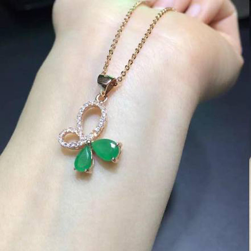 Sale Qi Xuan_Fashion Jewelry_Colombian Green Stone Bowknot Necklaces_Rose Gold Color Pendant Necklaces_Factory Directly Sales Sale Qi Xuan_Fashion Jewelry_Colombian Green Stone Bowknot Necklaces_Rose Gold Color Pendant Necklaces_Factory Directly Sales