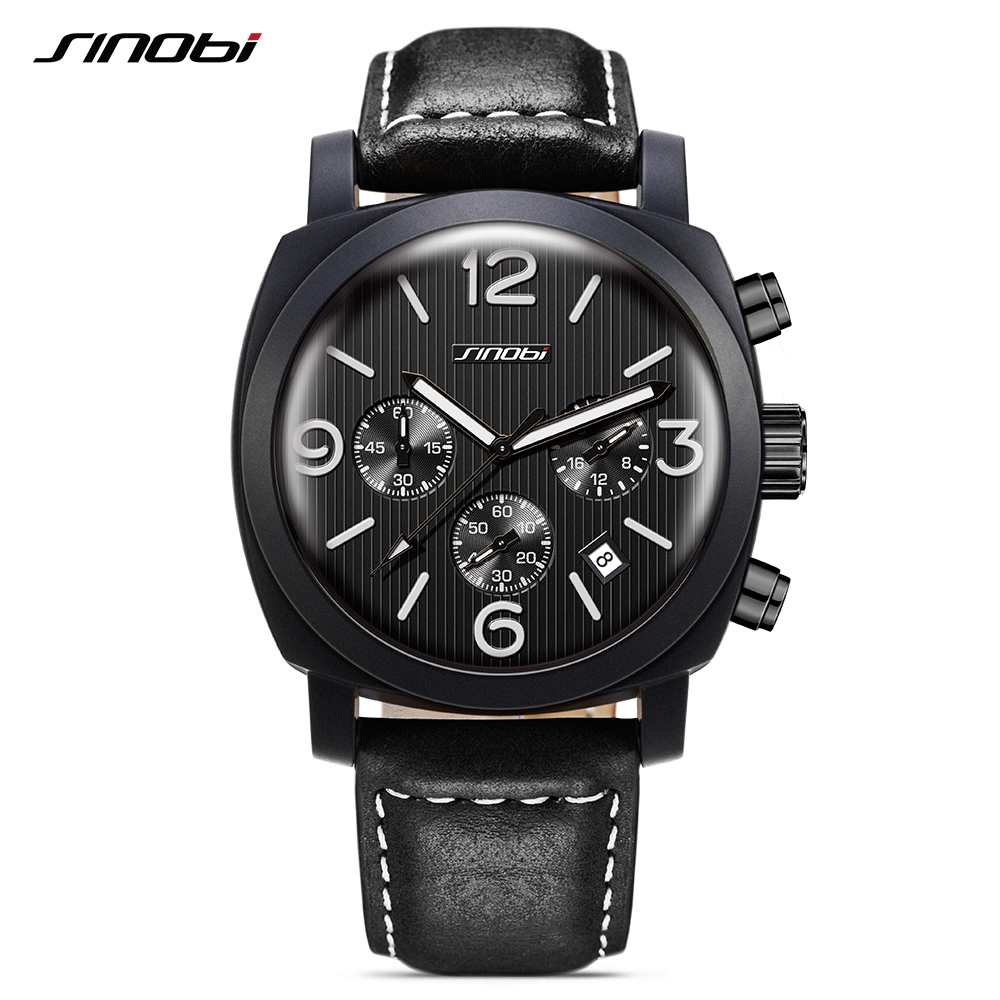 SINOBI New Luxury Brand Watches Business Men Wristwatch Sport Fashion Luminous Leather Quartz Clock Relogio Masculino 2017 L70 new listing men watch luxury brand watches quartz clock fashion leather belts watch cheap sports wristwatch relogio male gift