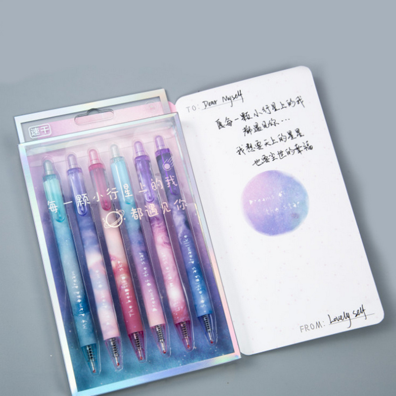 6pcs Starry Star Gel Pen Galaxy Night 0.5mm Ball Point Black Color Pens For Writing Stationery Gift Office School Supplies F211