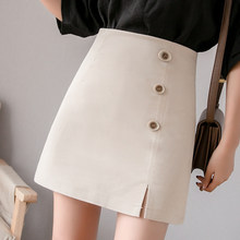 Harajuku faldas de verano para mujer 2019 Streetwear de cintura alta botón Mini  faldas coreano kawaii 88620654df3d