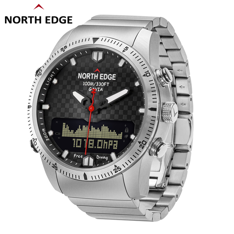 Stainless steel Quartz Watch Dive Military Sport Watches Mens Diving Analog Digital Watch Male Army Altimeter Compass NORTH EDGE in Quartz Watches from Watches