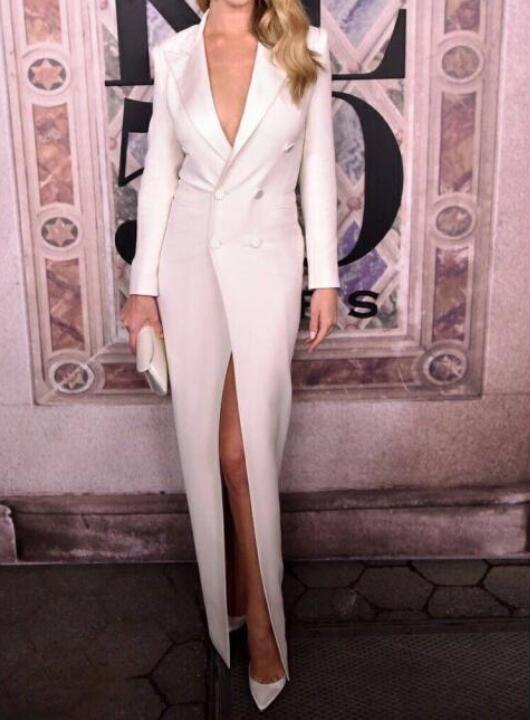 Noir blanc femmes longue robe de soirée célébrité mode haute fente boîte de nuit bouton robes élégantes