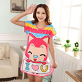 New Arrival Fashion 2 Styles Lovely Cartoon Fox Duck Pattern Women's Sleepwear Short Sleeve Nightgown Women Clothing Nightdress