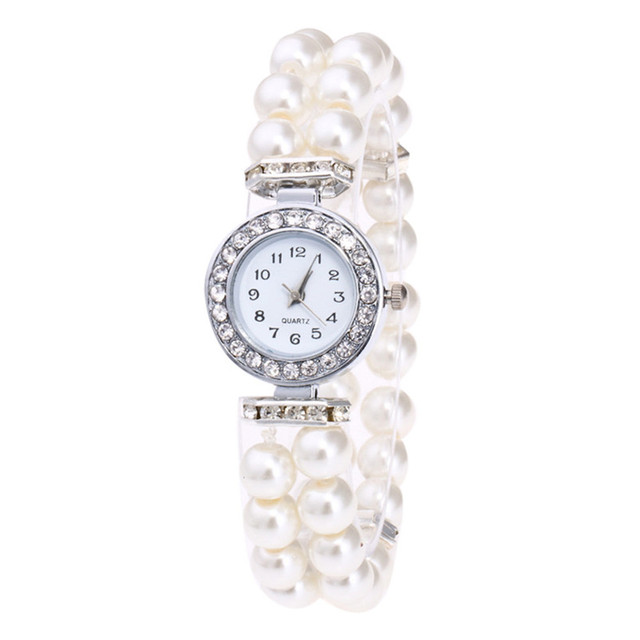 Fashion Simulated Pearl Strap Watch Women Rhinestone Small Dial Bracelet Watch Q