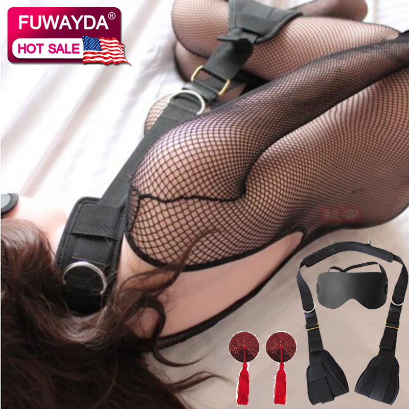 Free Shipping!!! Neck Pillow Swing Ankle Cuffs Restraint Body Bondage Harness Adult SM For Couples Women