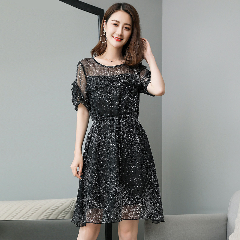 Livraison gratuite New2018 été mode dames élégante robe en mousseline de soie taille élastique cultiver robe décontracté Vestidos XL XXXL XXXXXL-in Robes from Mode Femme et Accessoires on AliExpress - 11.11_Double 11_Singles' Day 1