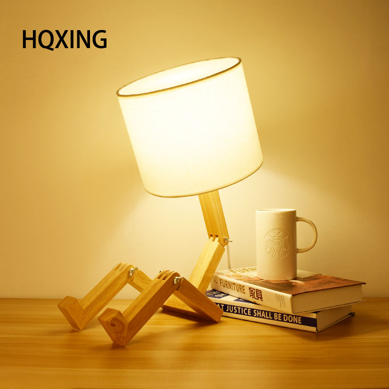 HQXING Modern European Style Table Lamp Wooden Bedside with Fabric Lampshade lamparas de mesa Desk Light Deco Luminaria trazos modern table lamp hotel book lights lamparas de mesa bedside reading light e27 luminaria de mesa with led bulb for free