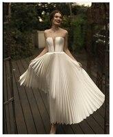 Short Wedding Dress 2019 Robe de mariee Backless Sexy Strapless Bridal Dresses Sleeveless Lorie Beach Wedding Party Custom Made
