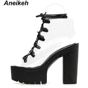 Image 3 - Aneikeh 2019 Leisure PVC Sandals Women Shoes Platform Lace Up Transparent Square High Heels Peep Toe Summer Casual Black Size 40