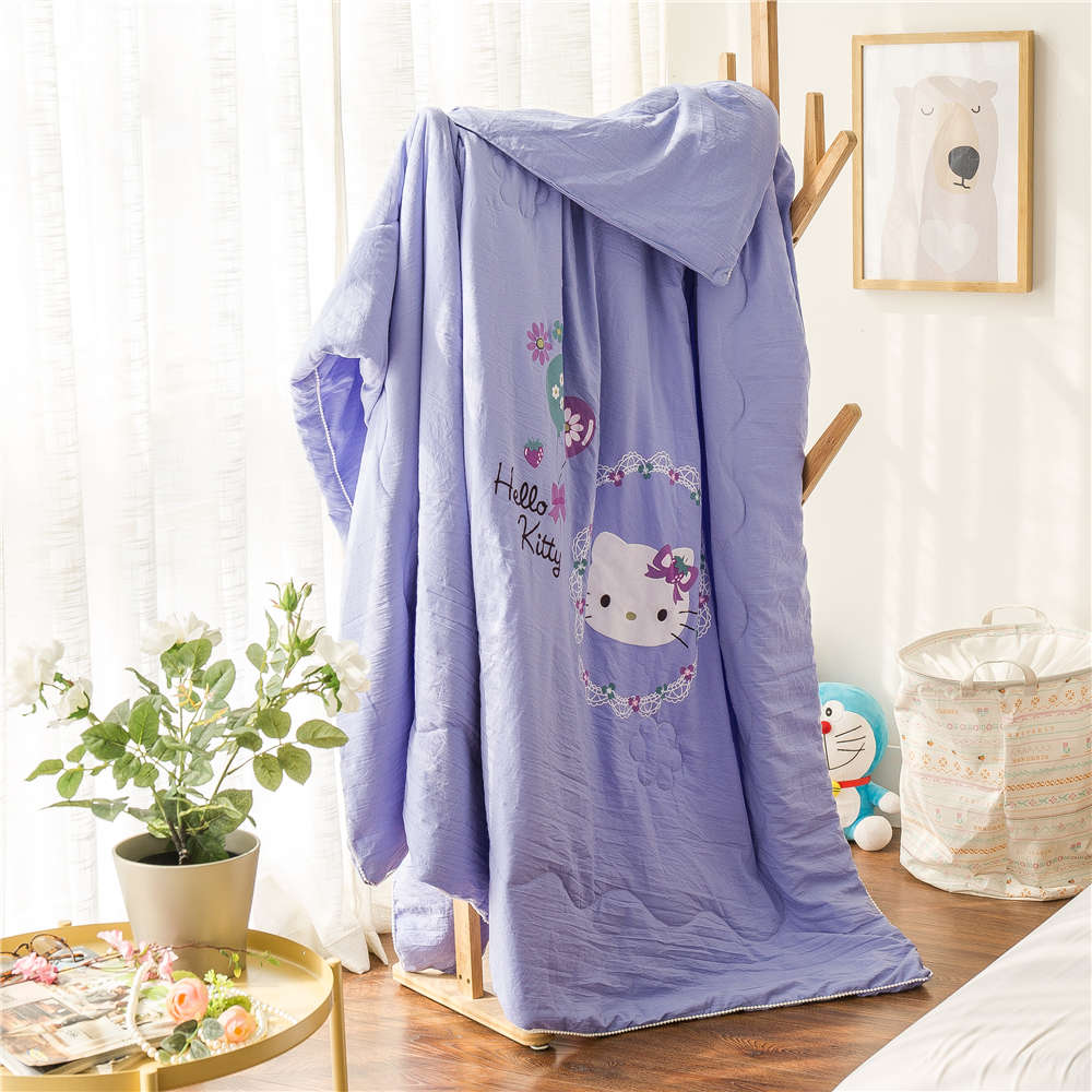 Baby bed quilt size - Purple Hello Kitty Balloons Printed Bedding Summer Polyester Comforters Quilts Girl S Baby Bed Single Twin Full