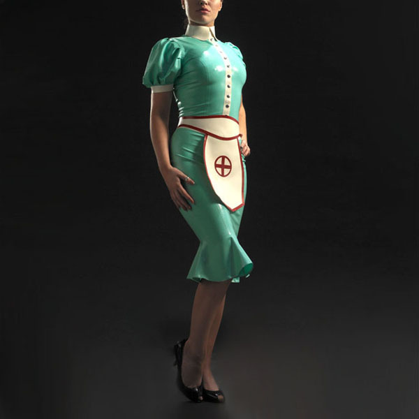 DHL Fress Shipping Latex Rubber Costumes Nurse Uniform Jacket Dress With Apron