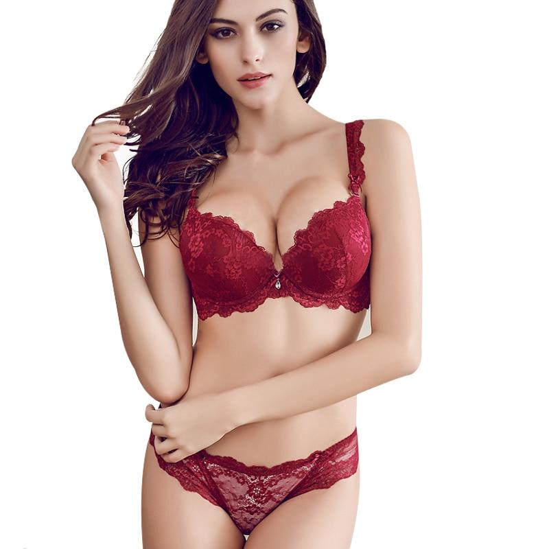 Red   bra     set   push up furu sexy small ofreceipt of the   bra   adjustable married underwear panties