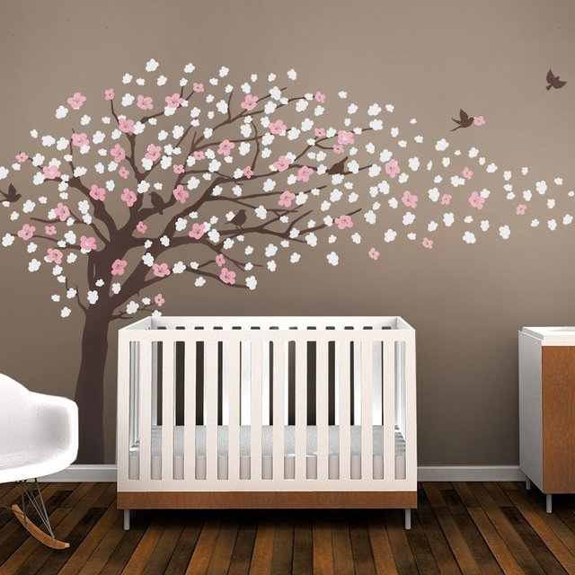 Brown Cherry Blossom Tree For Nursery Decor Vinyl Wall Decal Kids Room Color
