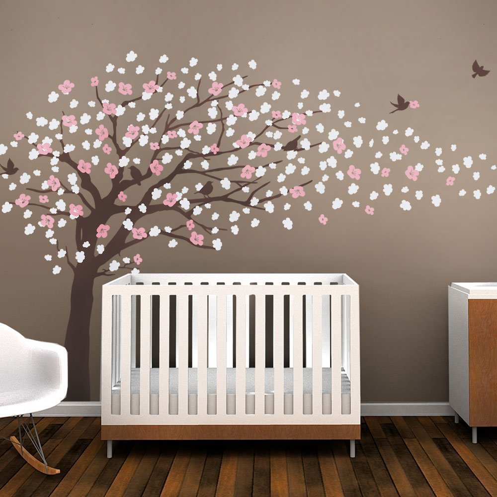 Brown Cherry Blossom Tree for nursery decor Vinyl wall decal for kids room decor (Color Scheme B Brown Tree)