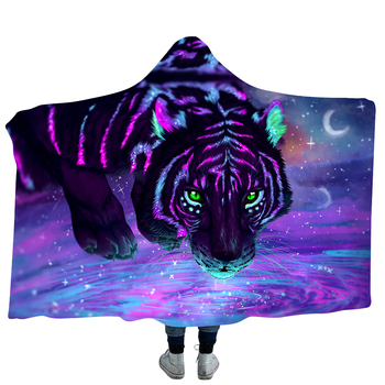 Colored Fluorescent Tiger Pattern 3D Hooded Blanket 5